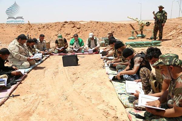 Photo of العتبة الحسينية تقيم محافل قرانية رمضانية لمجاهدي الحشد الشعبي في جب الحمرين