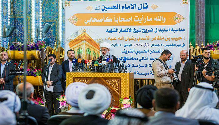 صورة العتبة الحسينية المقدسة تزيح الستار عن الشباك الجديد لمرقد شيخ الانصار حبيب بن مظاهر الاسدي