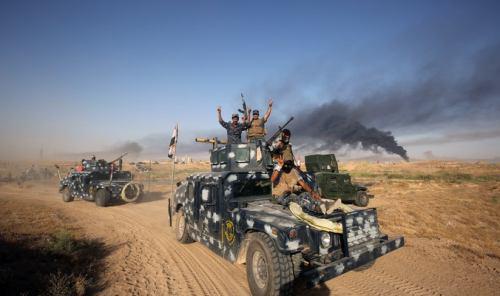 صورة تدمير 9  مفخخات يقودها انتحاريون بقصف جوي جنوبي غرب الشرقاط