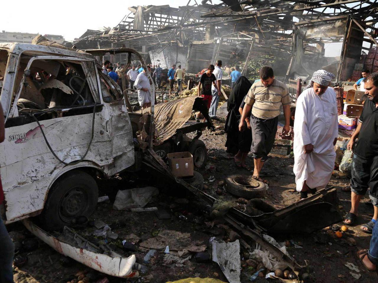 صورة تنظيم داعش الارهابي يتبنى تفجير حي جميلة شرقي  العاصمة العراقية بغداد الذي أوقع 20 شهيدا