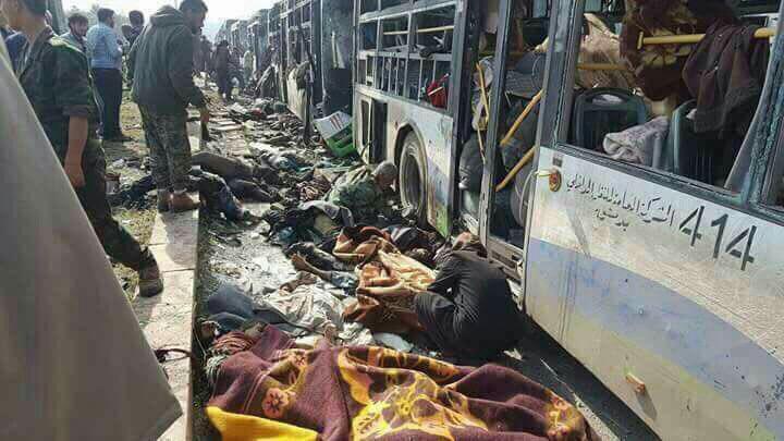 صورة بالصور: التفجير الإرهابي الذي استهدف أهالي بلدتي الفوعة وكفريا