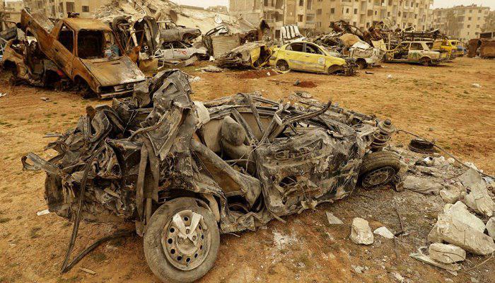 صورة استشهاد 6 اشخاص واصابة 32 في تفجير ارهابي بحلب