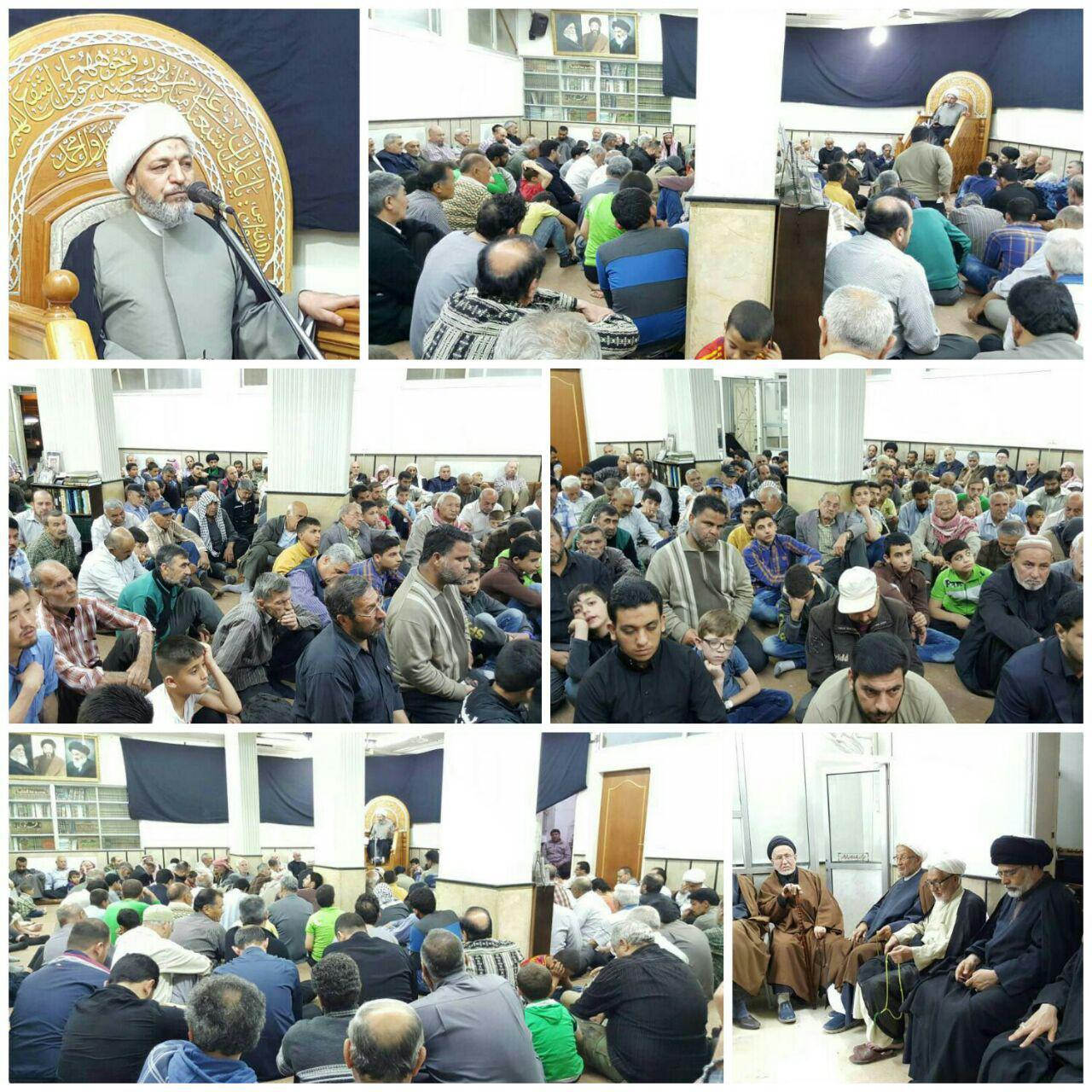 صورة مكتب المرجع الشيرازي في سوريا يحيي ذكرى استشهاد الامام الكاظم عليه السلام