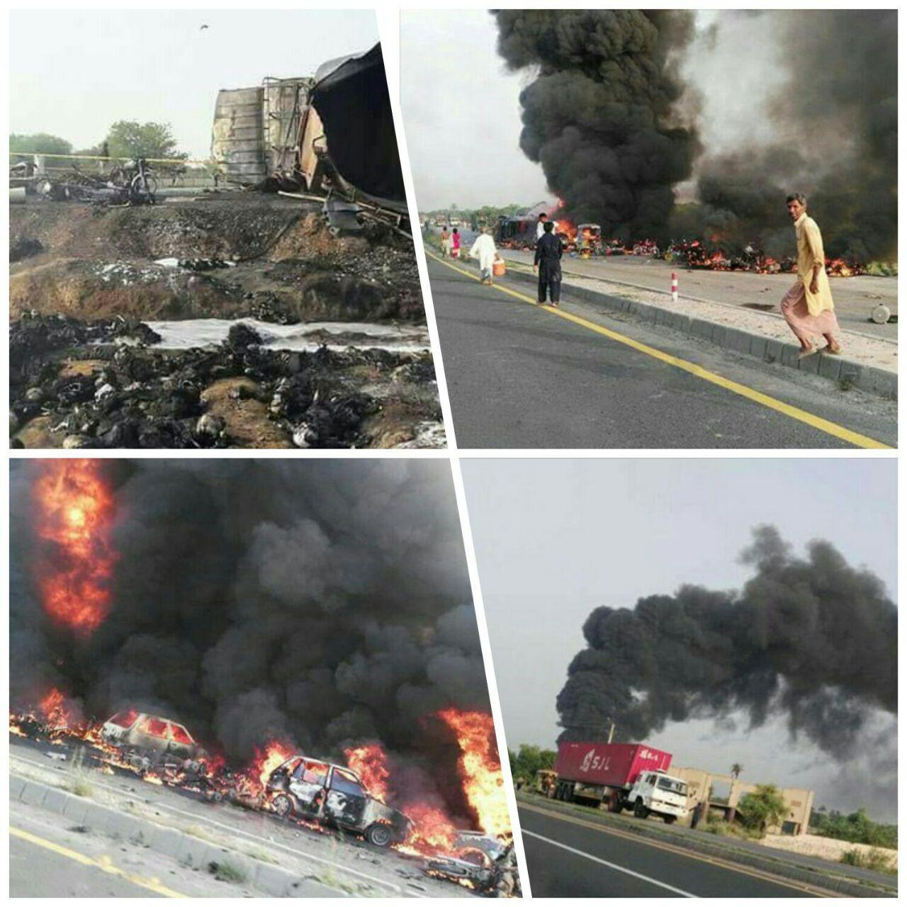 صورة مقتل وإصابة أكثر من 203 أشخاص بانفجار ناقلة نفط في باكستان
