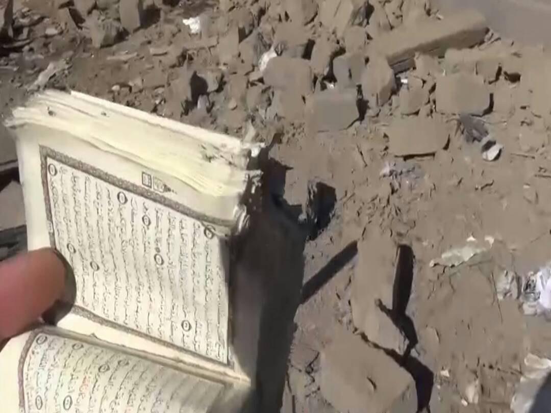 صورة صور لمشاهد تدمير منازل المدنيين بغارات سعودية بمأرب