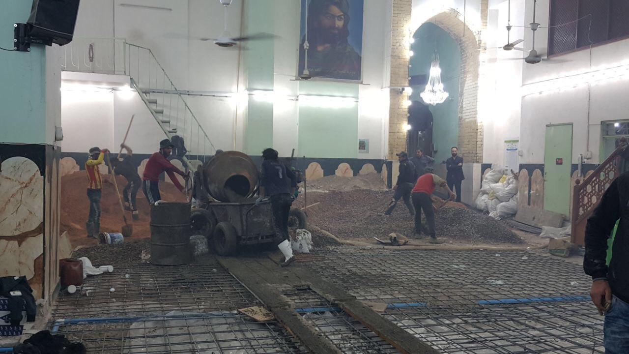 صورة الشروع بصيانة ارضية وجدارن مزار السفير الثالث للإمام الحجة عجل الله فرجه في بغداد