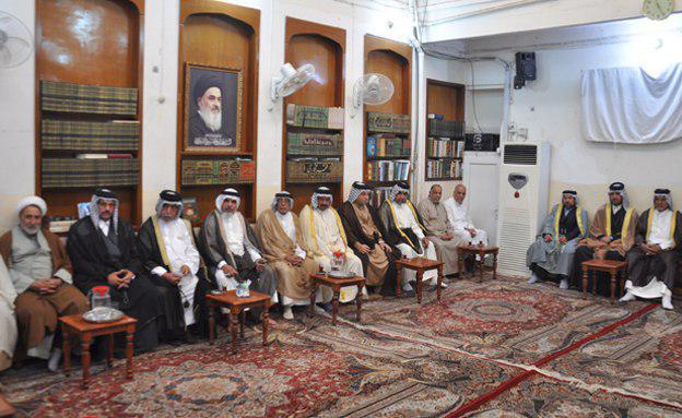 صورة مكتب المرجع الشيرازي في كربلاء المقدسة يستقبل وفداً عشائرياً من بغداد ومؤمنين من البصرة