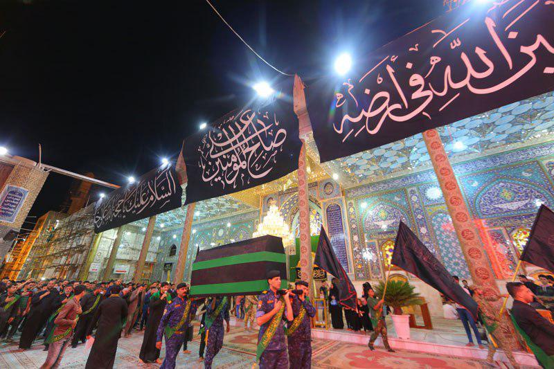 صورة التشييع الرمزي لنعش الامام علي عليه السلام ومجلس العزاء خدام العتبة العسكرية يحيون ليلة استشهاده