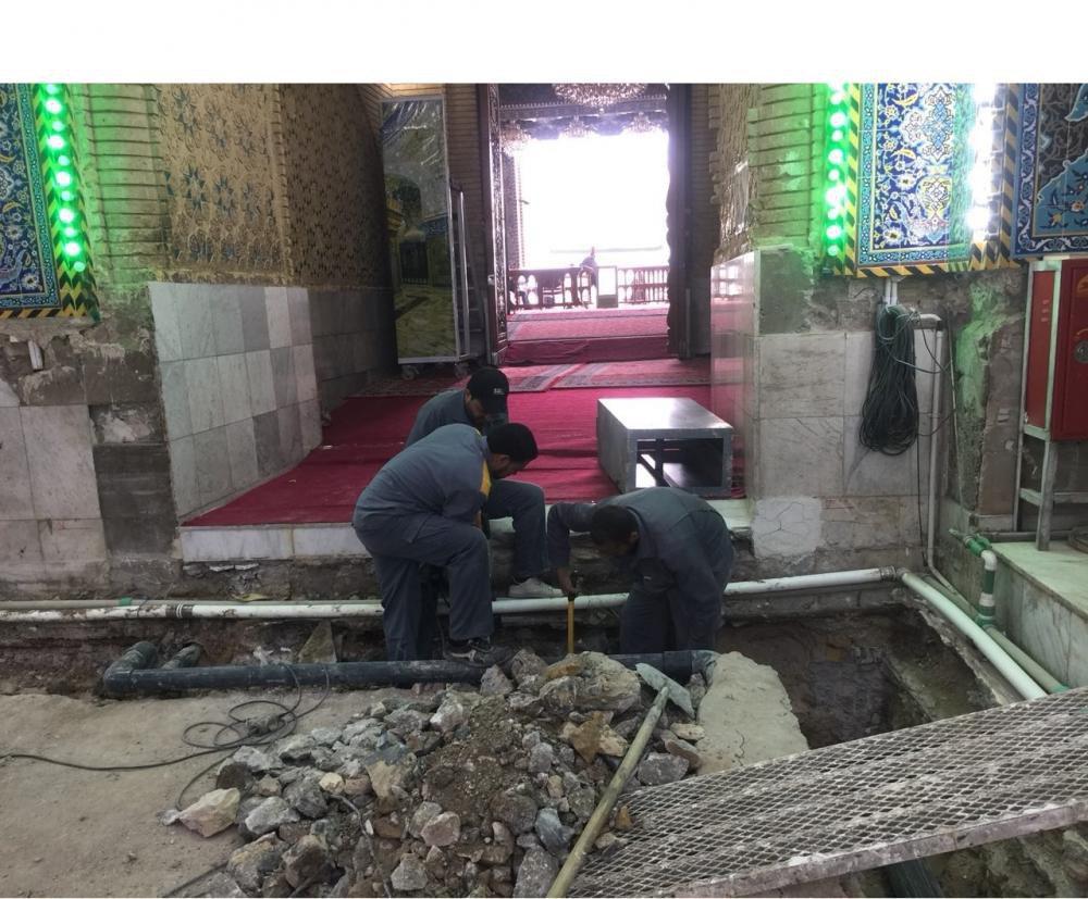 صورة الانتهاء من أعمال البُنى التحتيّة لصحن أبي الفضل العبّاس عليه السلام تمهيداً لإكسائه بالمرمر