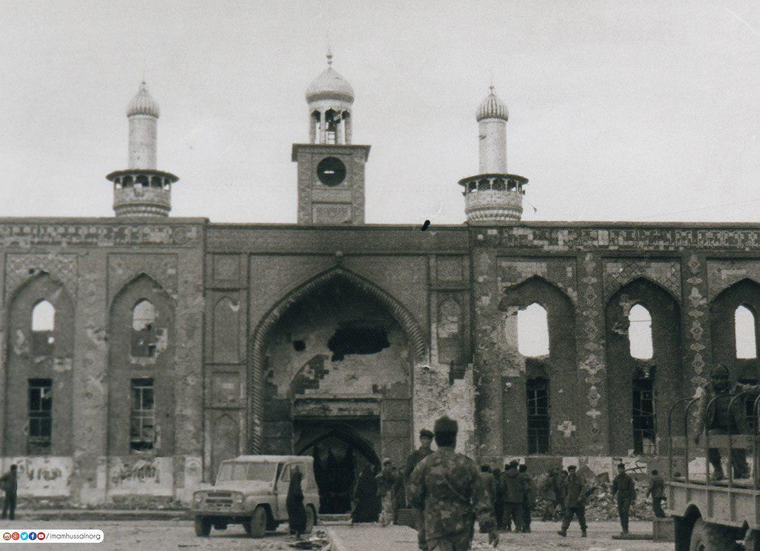 صورة مشاهد تروي ماجرى من دمار وتعدي على المقدسات ابان دخول الحرس الجمهوري الصدامي الى كربلاء