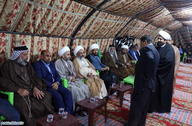 صورة وكيل سماحة المرجع الشيرازي يلتقي بشخصيات دينية واجتماعية في مدن جنوب العراق