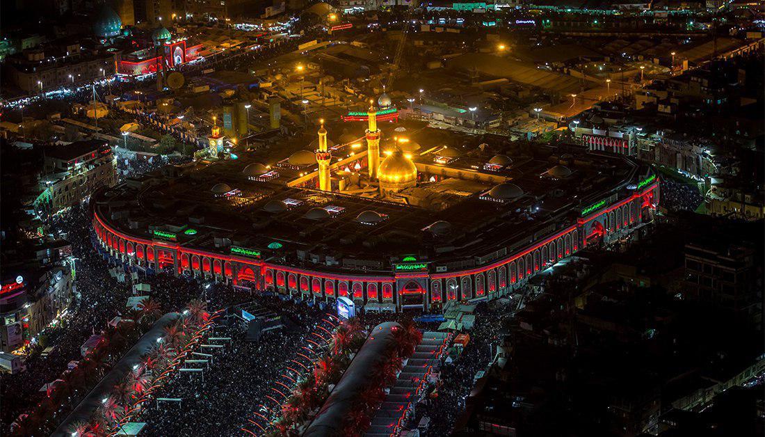 صورة الاعلان عن موعد افتتاح قبة مرقد الامام الحسين عليه السلام الجديدة