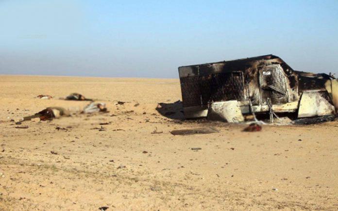 صورة الاعلام الامني العراقي: تدمير عجلة لداعش ومقتل 7 ارهابيين في نينوى
