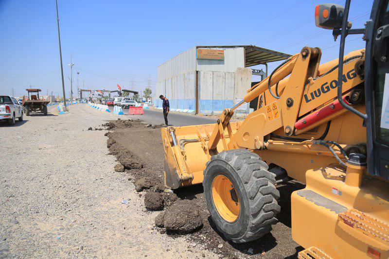 صورة اعادة تأهيل طريق السيطرة المركزية لمدخل مدينة سامراء