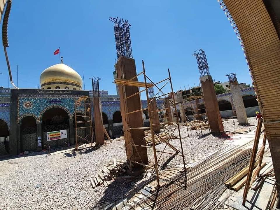 صورة بالصور .. تواصل العمل في مشروع اعادة تأهيل صحن السيدة زينب عليها السلام في دمشق