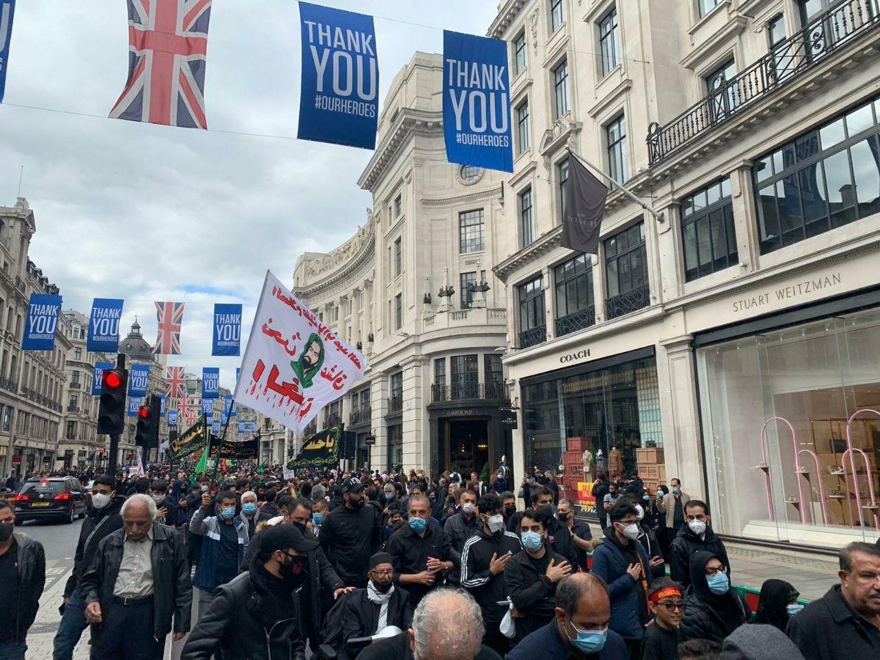 صورة عاشوراء حول العالم.. محبو أهل البيت عليهم السلام ينظمون مسيرة عشورائية وسط لندن