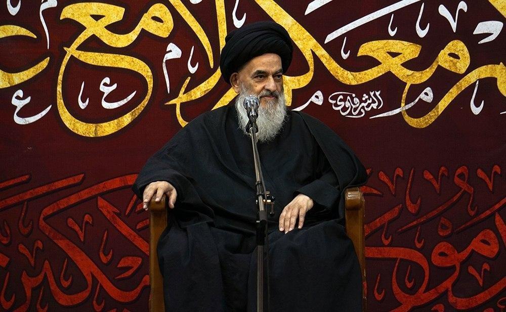 صورة المرجع الشيرازي في كلمته بجموعِ المعزّين: الشعائر الحسينية ستزدادُ كل سنة اتساعاً وتألقاً فالوعدُ الإلهي قضى بذلك