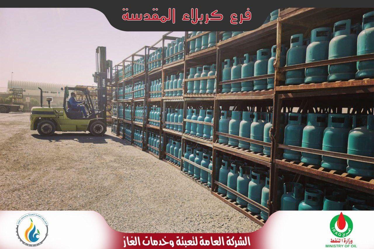 صورة وصول ألالاف من اسطوانات الغاز إلى كربلاء المقدسة استعداداً لزيارة الأربعين
