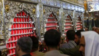 صورة بالصور.. المؤمنون يحيون بالدموع ذكرى استشهاد الزهراء عند مرقد أمير المؤمنين عليهما السلام