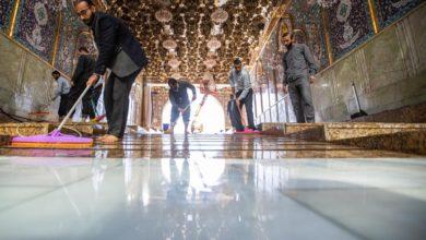 صورة العتبة العباسية تنتهي من أعمال إكساء أرضية بوّابة القبلة للمرقد الشريف (صور)