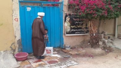 صورة مكتب المرجع الشيرازي يوزع السلال الغذائية والمراوح للمحتاجين في عدد من أحياء النجف الأشرف