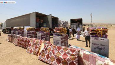 صورة قافلة مساعدات من مرقد الإمام الحسين عليه السلام تنطلق لإغاثة النازحين من الايزيديين والمسيحيين في دهوك (صور)