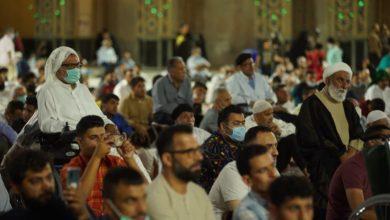 صورة الآف الزوار العرب يحتفلون بمولد الإمام الرضا عليه السلام عند مرقده الطاهر في مشهد المقدسة (صور)