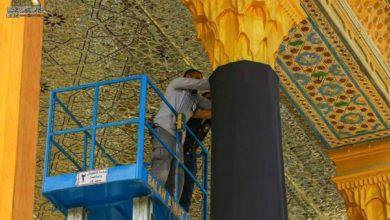 صورة العتبة الكاظمية المقدسة تتوشح بالسواد بذكرى استشهاد الإمام محمد الجواد عليه السلام (صور)