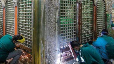 صورة لأول مرة.. صور من أعمال الترميم في الضريح الطاهر للإمام الرضا عليه السلام خلال فترة الاغلاق جراء انتشار كورونا