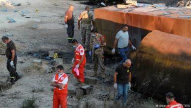 صورة مقتل وإصابة العشرات بانفجار صهريج شمالي لبنان