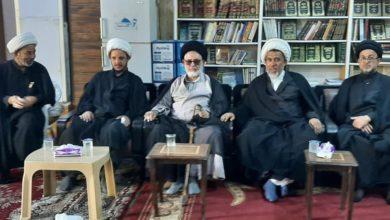 صورة وكيل المرجع الشيرازي يجري جولة تفقدية ويلتقي وكلاء المرجعية وأئمة الجماعة والخطباء في بغداد