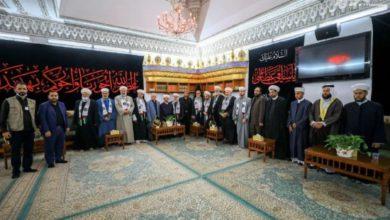صورة مشايخ وعلماء من سوريا ولبنان وفلسطين في رحاب مرقد أمير المؤمنين عليه السلام