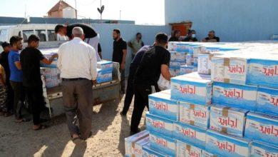 صورة مؤسسة أم أبيها عليها السلام في كربلاء المقدسة توفر كميات كبيرة من مياه الشرب للمواكب الحسينية