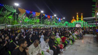 صورة ساحة ما بين الحرمين الشريفين في كربلاء المقدسة تحتفل بولادة النورين