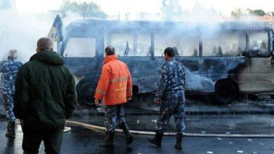 صورة شهداء وجرحى بتفجير حافلة عسكرية في دمشق (صور)