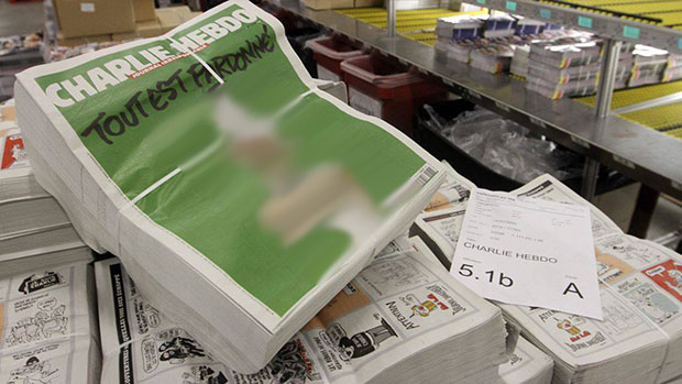 Photo of 3 million copies of new Charlie Hebdo magazine featuring insult to prophet cartoon on cover