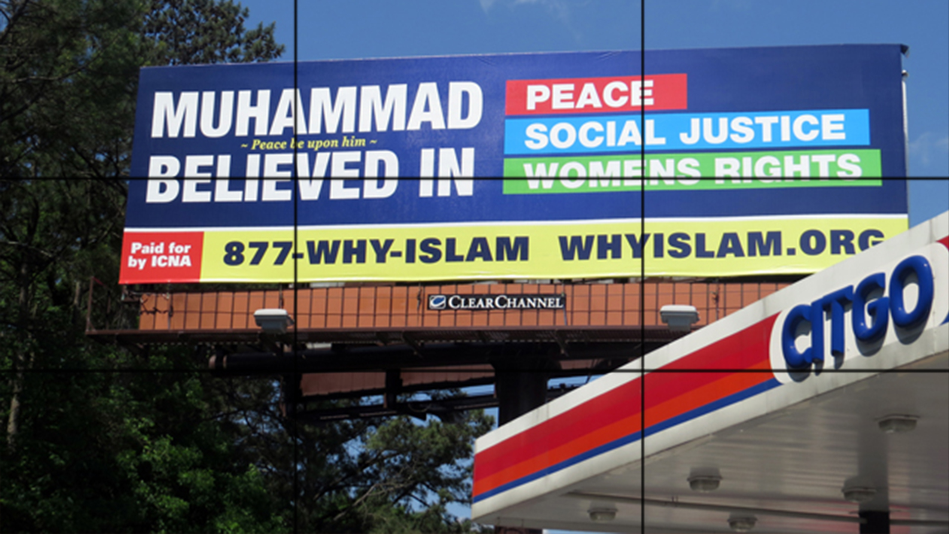 """Photo of Muslim campaign urging Americans to """"Discover Muhammad, peace be upon him and his progeny"""