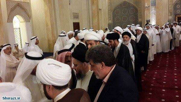 Photo of Son of Grand Ayatollah Sayed Shirazi participates in funeral ceremonies of Kuwait mosque's martyrs