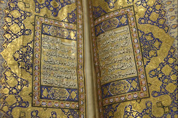 """Photo of 200-year-old """"Golden Quran"""" part of Auckland library collection"""