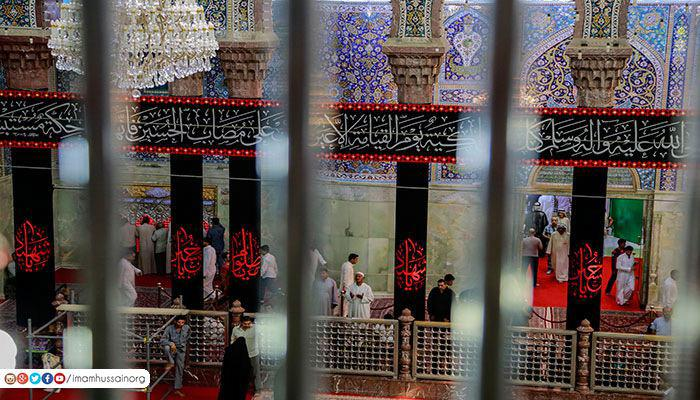 Photo of Imam Hussein Holy Shrine covered with black banners in preparation for Muharram