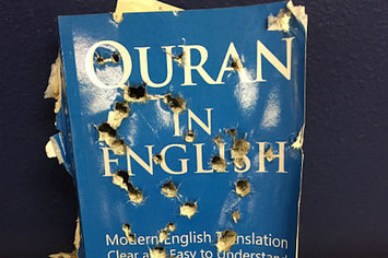 Photo of 'Bullet-riddled' Quran found outside Islamic clothing shop in Southern California