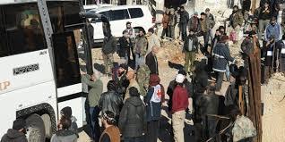 Photo of Some 300 Syrian families leave besieged Al-Foua'a and Kafraya