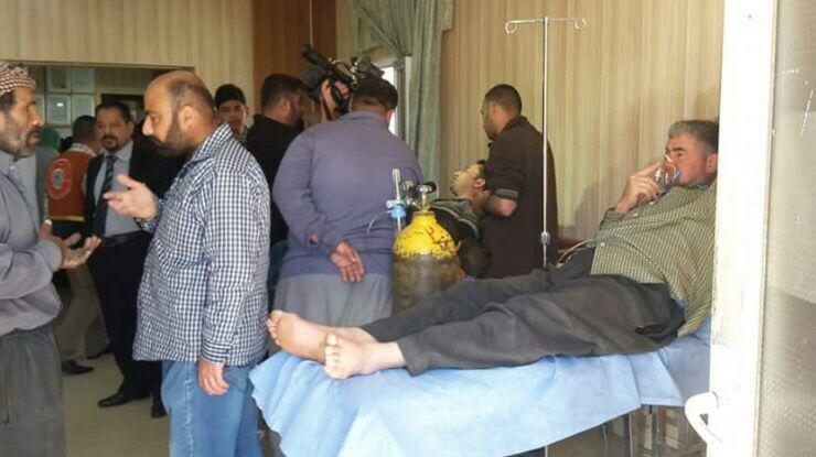 Photo of Iraqi Turkmen civilians suffering of mustard gas exposure in Tuz Khurmatu