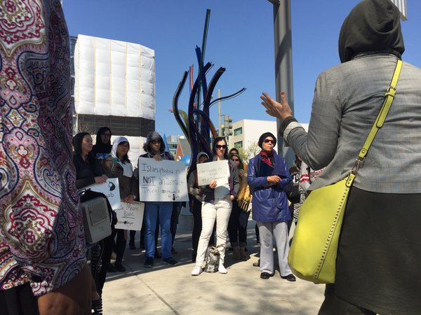 Photo of Protest held outside Shaw Library after woman ordered to remove hijab