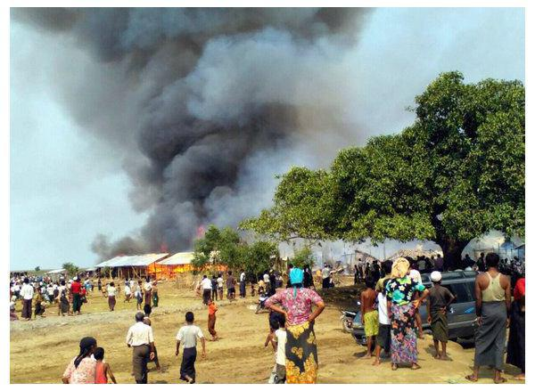 Photo of Fire in Myanmar camp for displaced Muslims injures dozens