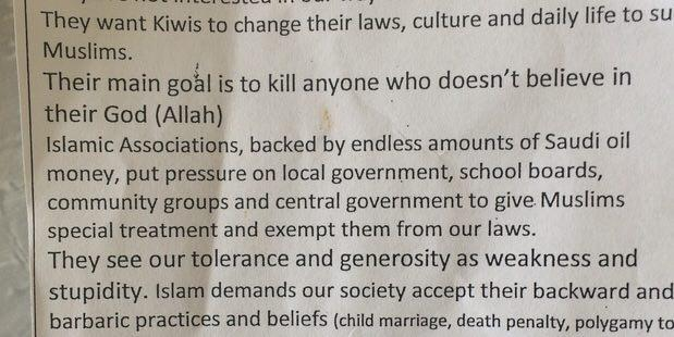 Photo of Anti-Muslim pamphlet upsets residents