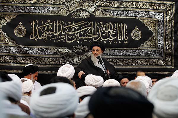 Photo of Grand Ayatollah Seyyed Sadiq Shirazi's speech on eleventh of Muharram