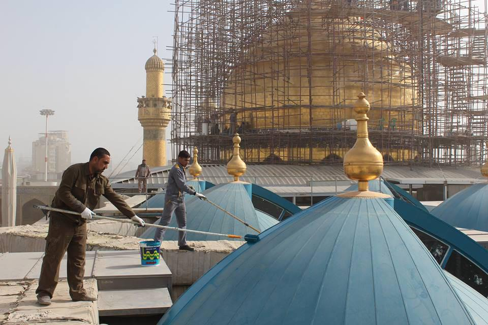 Photo of Imam Ali Holy Shrine Staffs multiply their efforts to finish the holy dome soon