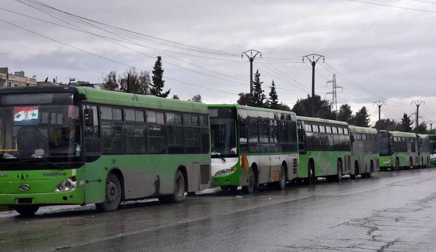 Photo of Buses carrying residents from Foua & Kefraya arrive in Aleppo