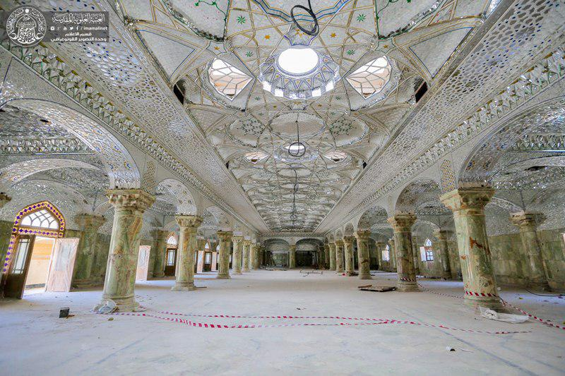 Photo of Tiling internal and external walls of Lady Fatima courtyard reaches advanced stages.